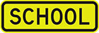 yellow sign with black text, school