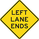 yellow diamond-shaped sign with black text, left lane ends