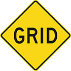 yellow diamond-shaped sign with black text, grid