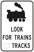 white sign with black train icon and text, look for trains, number of tracks