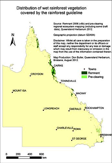 Map showing the distribution of pre-clearing and remnant wet rainforest in Queensland.