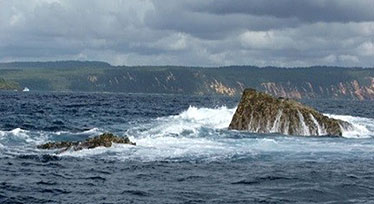 Image of Wolf Rock, near Double Island Point in Queensland, is a protected grey nurse shark aggregation site.
