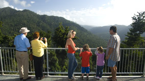 Visitors looking at the rainforest view from the 10 m long cantilever.