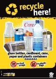 Imagery: Glass juice bottle, cereal box, newspaper, plastic cup, plastic bottle, steel can, plastic containers 1-7
