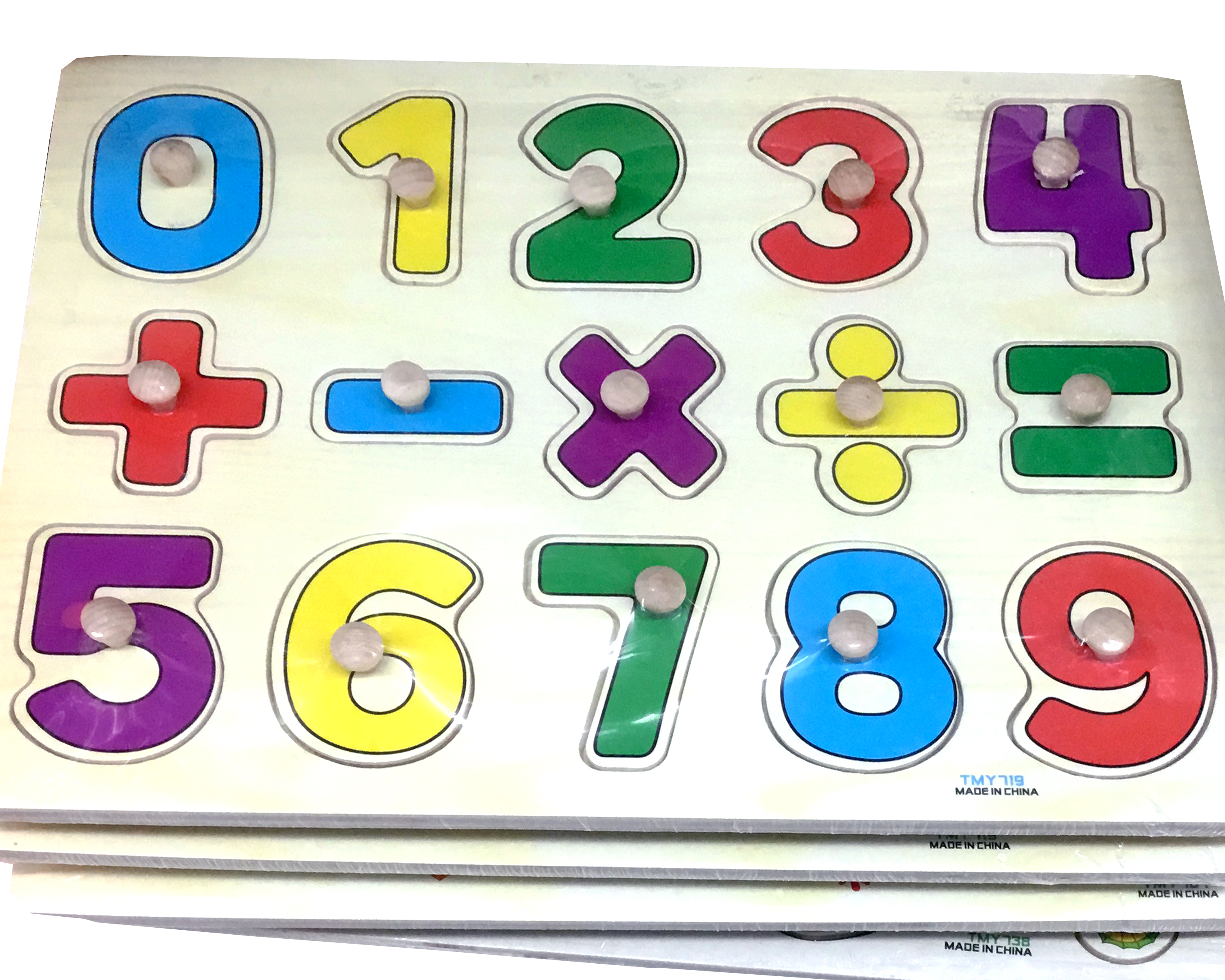 A wooden puzzle with numbers from 0 to 9 in different colours