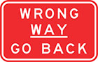 red sign with white text, wrong way — go back