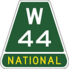 Green trapezoid-shaped sign with white text W 44 and the word national in yellow