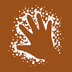 brown sign with symbol of a hand outline in dots