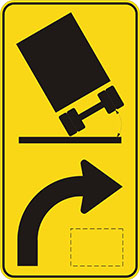 yellow sign with black icon of the rear of a truck leaning to one side with an arrow showing the direction and shape of the turn