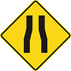 yellow diamond-shaped sign with 2 parallel black lines that veer closer together