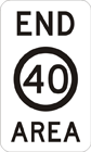 End area speed zone sign