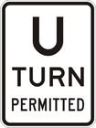 U-turn permitted sign