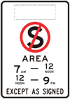 No stopping area sign
