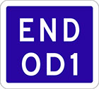 blue sign with white text, end OD1