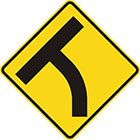 yellow diamond-shaped sign with black T shape which curves to the left at the stem