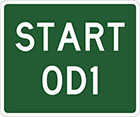 green sign with white text, start OD1