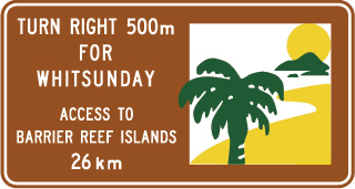 brown sign with text about access to the Barrier Reef islands and a green, white and yellow icon representing islands