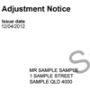 Sample adjustment notice showing the customer reference number