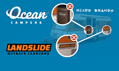 Correct and incorrect examples of branding displayed on a caravan