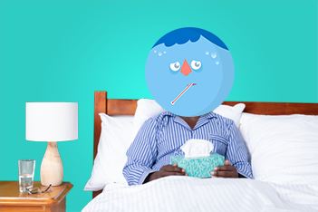 Graphic of man with the flu in bed