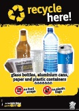 Imagery: Glass beer bottle, newspaper, plastic cup, plastic bottle, aluminium can, plastic containers 1-7