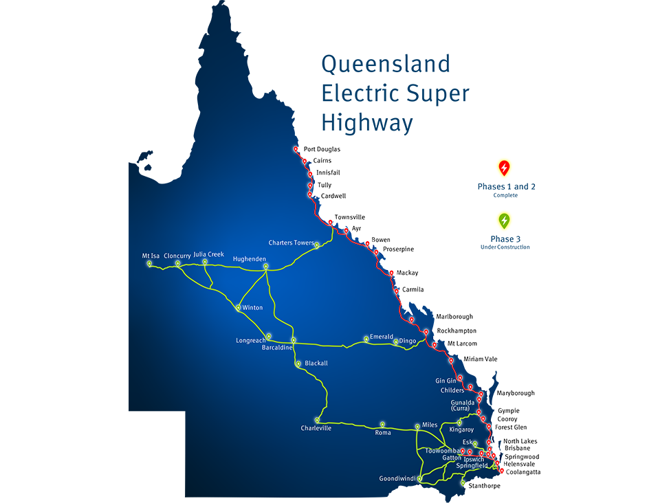 Map of Queensland's electric super highway showing current and planned charging locations