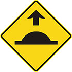 yellow diamond-shaped sign with black arrow and a horizontal line with a semi-circular bump on top