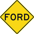 yellow diamond-shaped sign with black text, ford