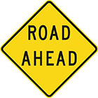 yellow diamond-shaped sign with black text, road ahead