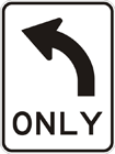All traffic turn left sign