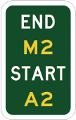 green sign with the words end and start in white and M2 and A2 in yellow