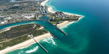Aerial photograph of the Tweed River entrance and the Tweed coastline