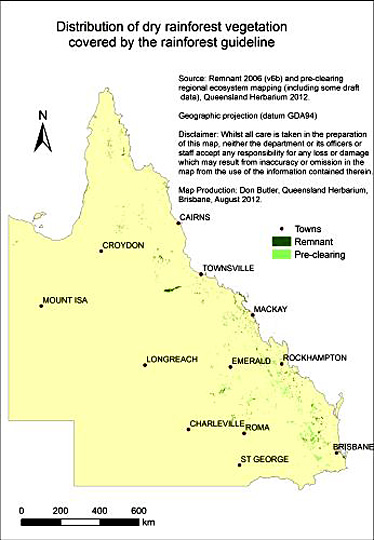 Map showing the distribution of pre-clearing and remnant dry rainforest in Queensland.
