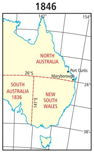 Map from 1846 showing the new colony of North Australia