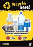 Imagery: Glass juice bottle, newspaper, plastic cup, plastic bottle, aluminium can, plastic containers 1-7