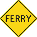 yellow diamond-shaped sign with black text, ferry
