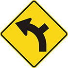 yellow diamond-shaped sign with black arrow that curves steadily left with a line branching off on the outside of the curve