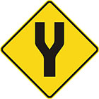 yellow diamond-shaped sign with black Y shape