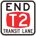 End T2 transit lane sign