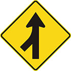 yellow diamond-shaped sign with black arrow pointing upward with a brach joining the tail from the bottom-left