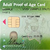 Sample adult proof of age card showing the customer reference number