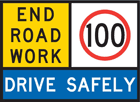A end roadwork sign, with a speed limit of 100km/hr