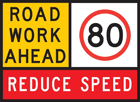 A roadworks warning sign, advising motorists to reduce their speed to 80km/hr