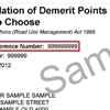 Sample accumulation of demerit points notice to choose showing the customer reference number