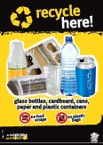 Imagery: Glass juice bottle, newspaper, cardboard tray, plastic cup, plastic bottle, aluminium can, plastic containers