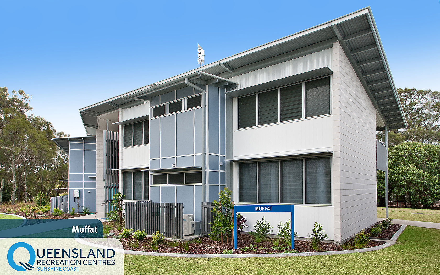 Two storey camp cabins with exterior gardens, air conditioning and walkways at the Sunshine Coast Recreation Centre