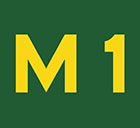 green sign with M1 in yellow