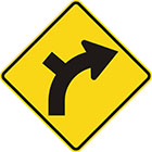 yellow diamond-shaped sign with black arrow that curves steadily right with a line branching off on the outside of the curve