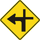 yellow diamond-shaped sign with black arrow that curves sharply left with a thinner line continuing upward and another branching to the right