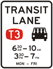 T3 transit lane restriction sign